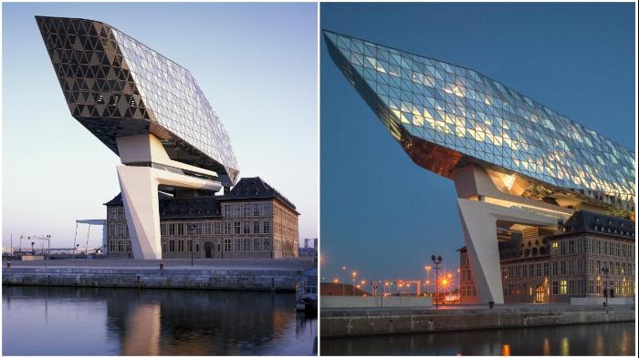 Здание Havenhuis Antwerpen больше похоже на футуристический стеклянный корабль, застывший в небе (Антверпен, Бельгия).