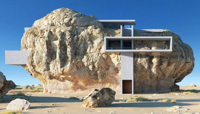 Нереальная архитектура «Дома внутри скалы» (3D rendering, Amey Kandalgaonkar). | Фото: magazindomov.ru.