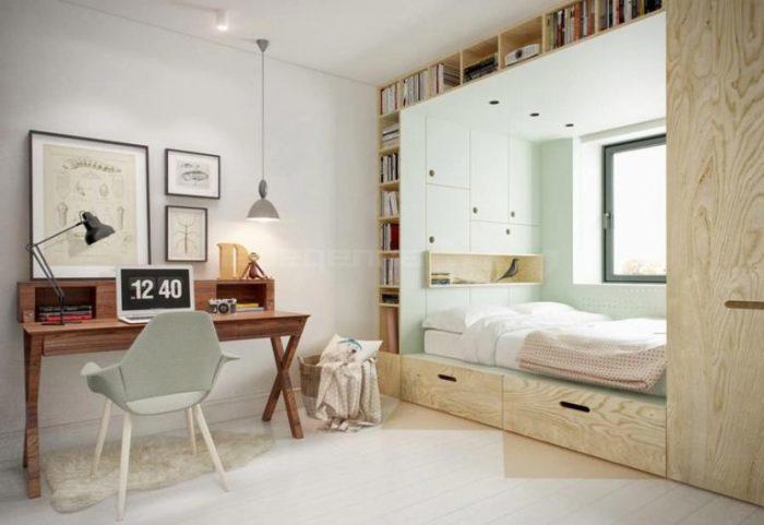 Нишу для спальной зоны можно организовать из мебельных систем. | Фото: berkem.ru.