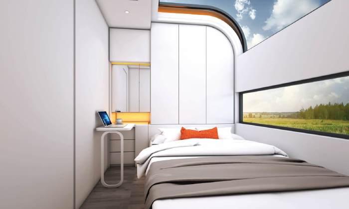 Одна из спальных комнат оборудована системами хранения и рабочим местом («Cube Two»). | Фото: tech.icrewplay.com.