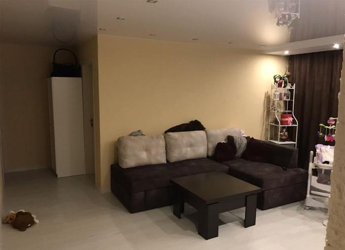 В гостиной расположили небольшой диван, превращающийся в спальное место для гостей. | Фото: remont-kvartiri.livejournal.com.