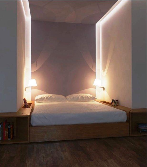 Создание спального места в имеющейся нише. | Фото: cpykami.ru.