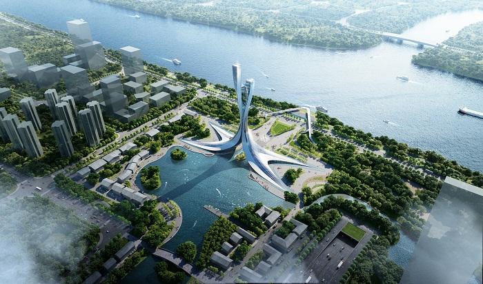 Дизайн памятника Xiangjiang Gate отдает дань географическому положению города, а также его историческому и культурному наследию (концепт RMJM Shanghai). | Фото: archdaily.com.