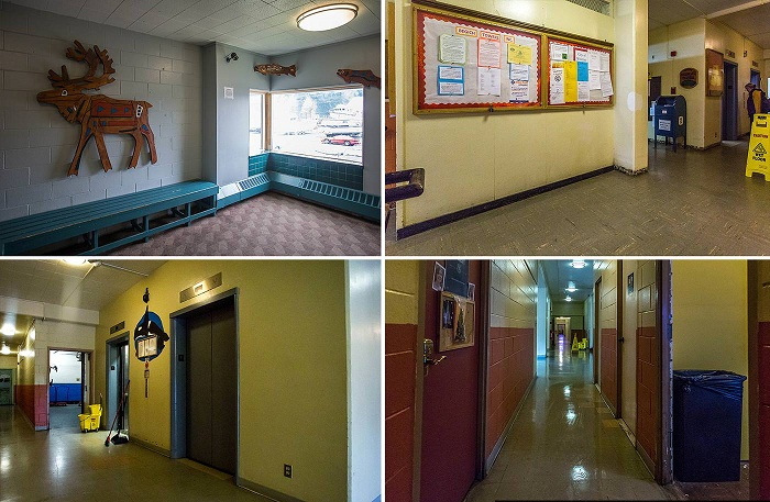 Длинные коридоры играют роль улиц в огромной коммуналке, в которой живут горожане (Уиттиер, Аляска). | Фото: macos.livejournal.com.