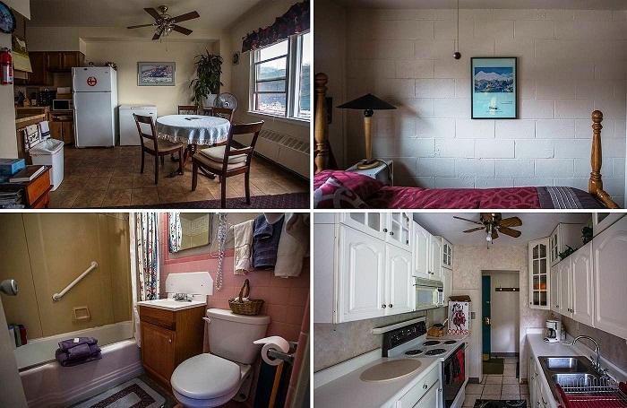 Интерьер стандартной квартиры в единственном доме города (Whittier, Аляска). | Фото: macos.livejournal.com.