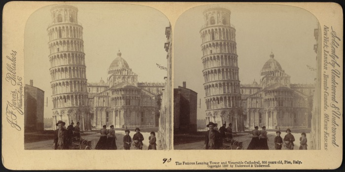 Пизанская башня на стереофотографии 1897 г. |  Фото: digitalcommonwealth.org.