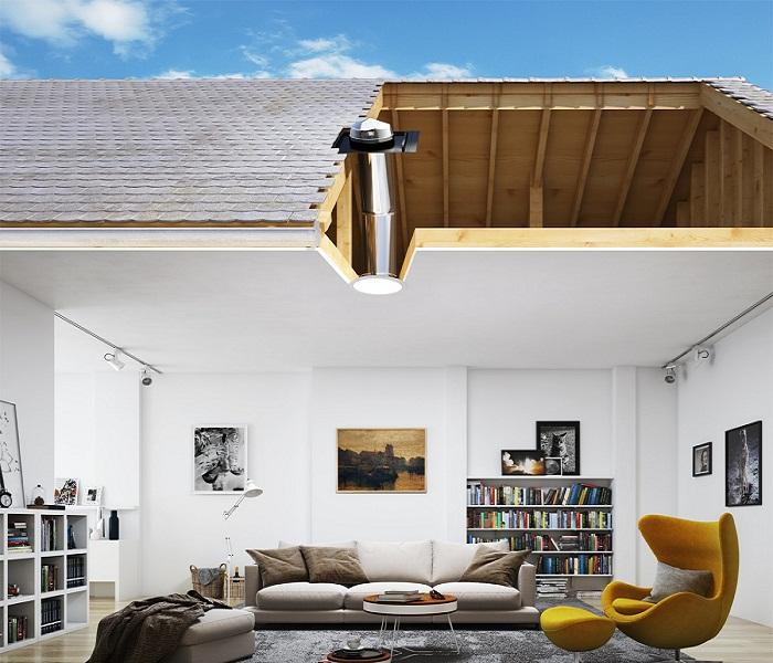 «Солнечный колодец» можно установить в частном доме.