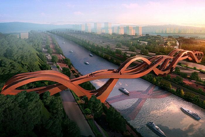 Пешеходный мост-аттракцион Lucky Knot в городе Чанша (Китай). | Фото: interior.ru.