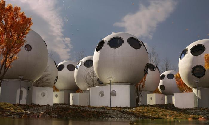 Несмотря на дешевизну строительства, понадобилось 16 лет, чтобы футуристический поселок заселили (Bolwoningen, Hertogenbosch). | Фото: bubblemania.fr.