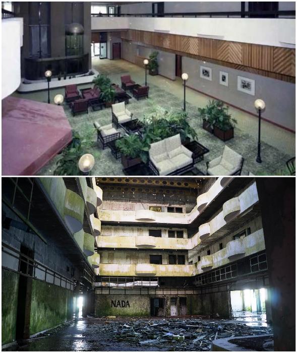 Холл отеля Monte Palace, в котором некогда отдыхали гости, превратился в руины (Азорские острова).