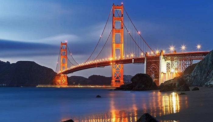 Уникальный подвесной мост на современном этапе (Мост Золотые Ворота, Сан-Франциско). | Фото: chudesnyemesta.ru.