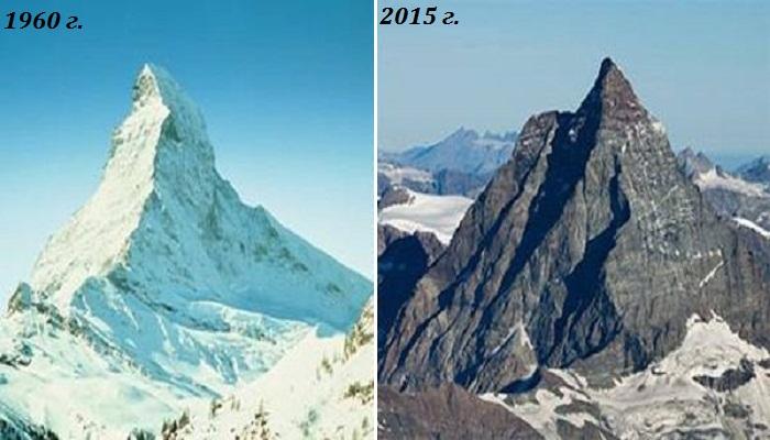 Гора Маттерхорн – одна из самых узнаваемых вершин в мире осталась без снега и льда. | Фото: photoblog.org.ua.