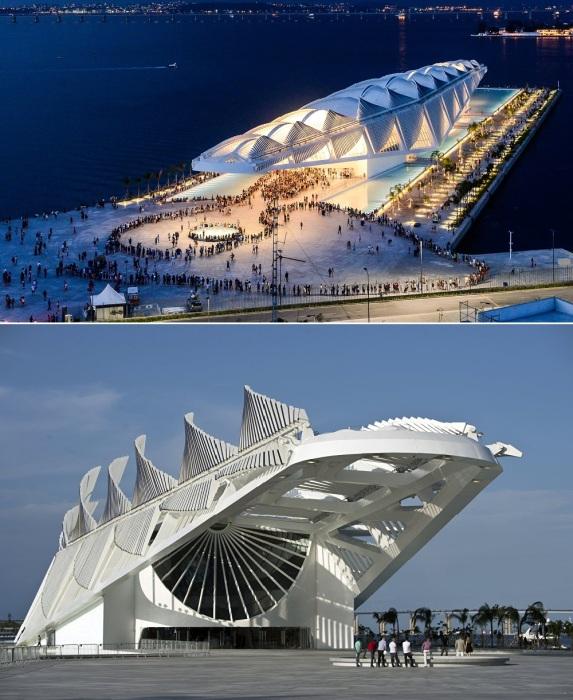 «Парящий» над водой Музей завтрашнего дня стал визитной карточкой Бразилии (Рио-де-Жанейро).