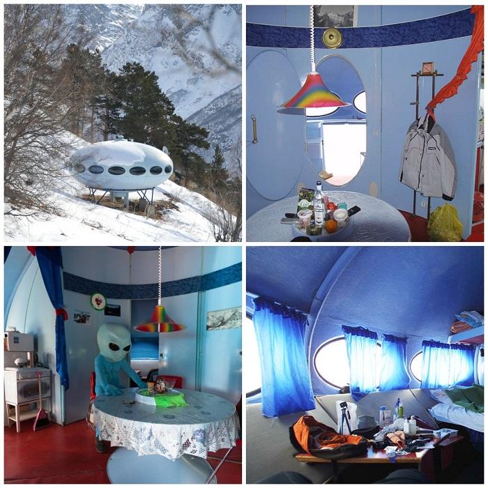 Самая удивительная и необычная гостиница в горах Домбая («Тарелка», Россия).