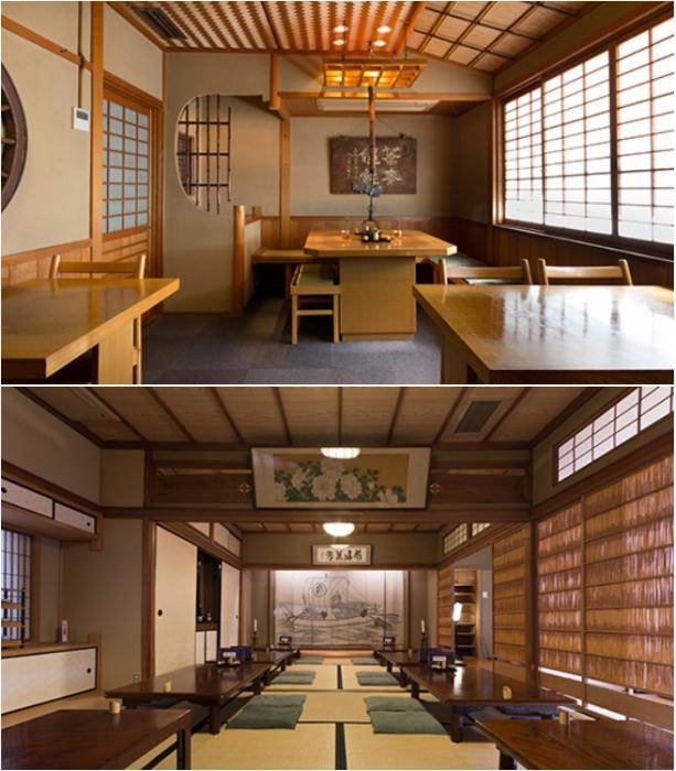 Интерьер ресторана Honke Owariya в Киото (Япония).   Фото: honke-owariya.co.jp.