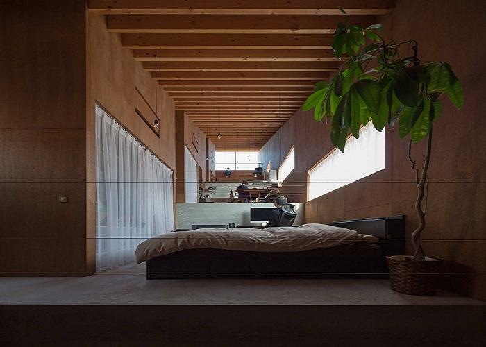 Спальня в необычном доме.