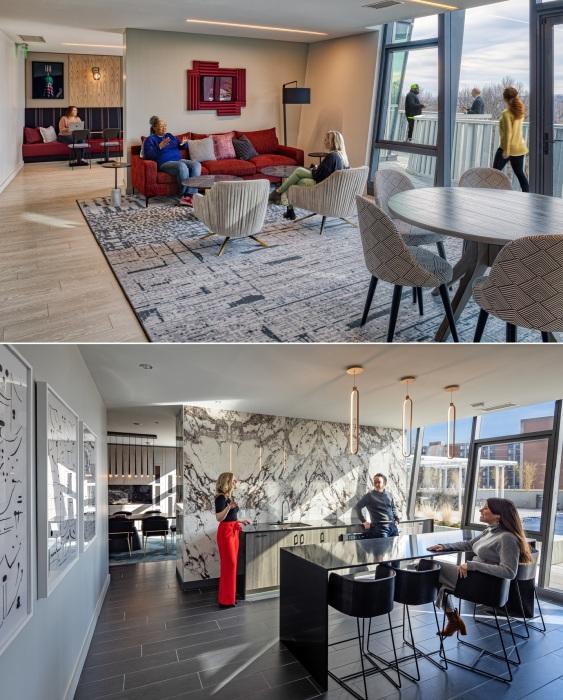 Современный дизайн и открытая планировка апартаментов (One Hundred tower, Сент-Луис).