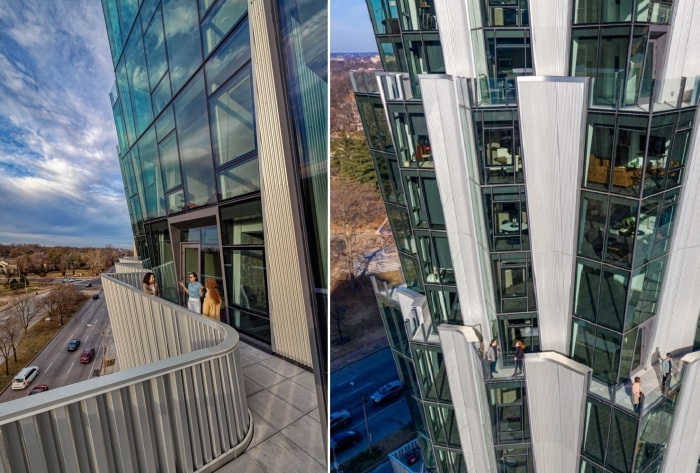 На вершине каждого из ярусов имеется открытая терраса с общественным и индивидуальным доступом (One Hundred tower, Сент-Луис).