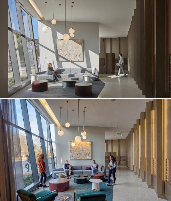 Вестибюль парадного входа жилой высотки One Hundred tower также порадует новоселов (Сент-Луис, США).