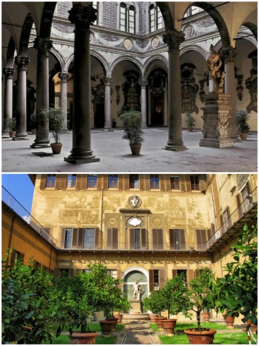 Внутренний двор Палаццо Медичи Риккарди во Флоренции (Италия).