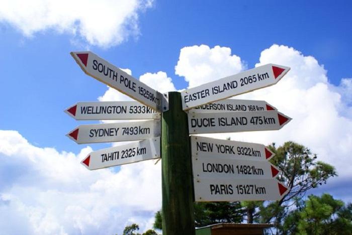Знак, показывающий на каком расстоянии находится остров от самых известных городов мира (Остров Питкэрн, Великобритания). | Фото: wonderfulnature.ru.