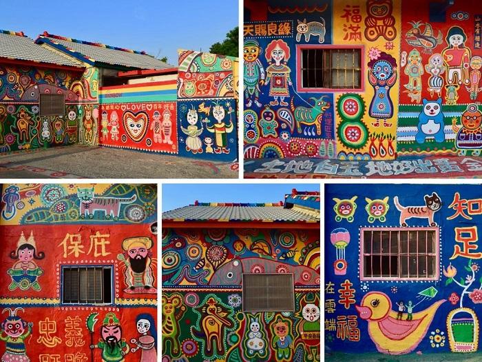 Уникальные сюжеты на стенах домов и даже улицах и тротуарах (Rainbow Village, Тайвань).