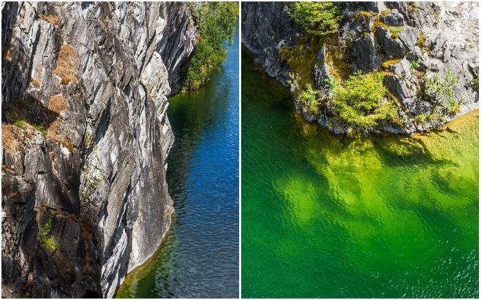 Манящая глубина озер в мраморных карьерах Рускеала (Карелия).