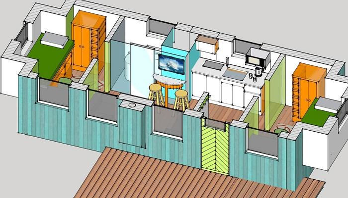 Макет проекта альтернативного жилья для бездомных граждан (Social Bite Village).