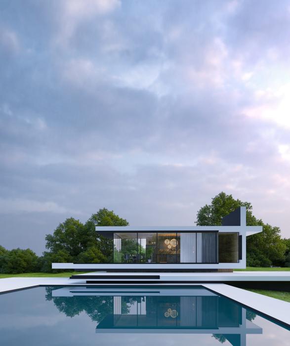 Бассейн у загородного дома SKY house помогает создать эффект левитации в архитектуре. | Фото: en.alex-nerovnya.com.