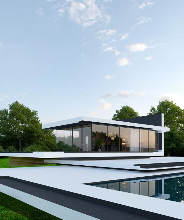 Панорамное остекление и минимализм в оформлении загородной виллы SKY house лишь подчеркнут гармонию с окружающей природой. | Фото: en.alex-nerovnya.com.