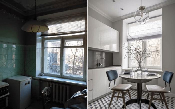 Стильное преображение старой кухни с помощью цвета и новой мебели (проект архитектор Карины Задвиной). | Фото: lemurov.net.