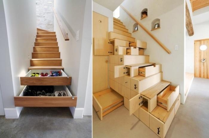 Многофункциональная лестница с ящиками в ступенях: компактно, оригинально. | Фото: asusfone.ru