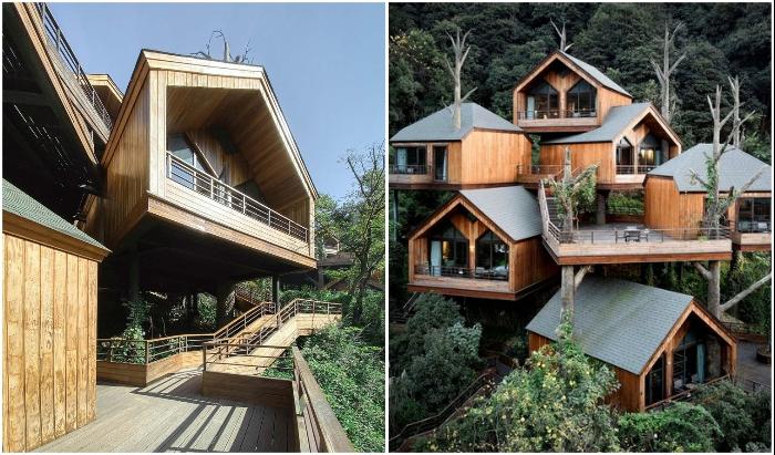 Несмотря на гнездовое расположение номеров, в них соблюдена приватность постояльцев (Kaiyuan Senbo, Ханчжоу).