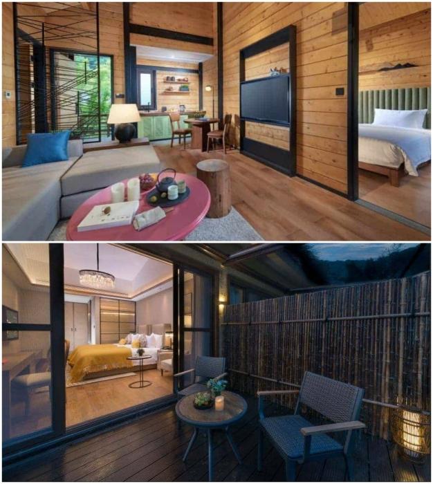 Комфортабельные номера и обустроенные балконы ждут любителей эко-отдыха (Tree House, Ханчжоу).