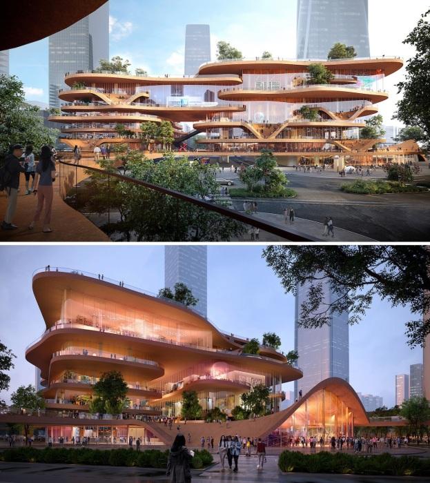 В Китае решили построить трехмерный студенческий город-сад Shenzhen Terraces (Шэньчжэнь).