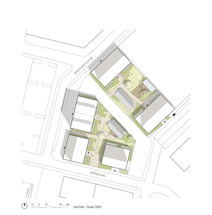 Схема расположения жилого комплекса (ЖК «Kajstaden», Швеция). | Фото: archdaily.com/ © Nikolai Jakobsen.
