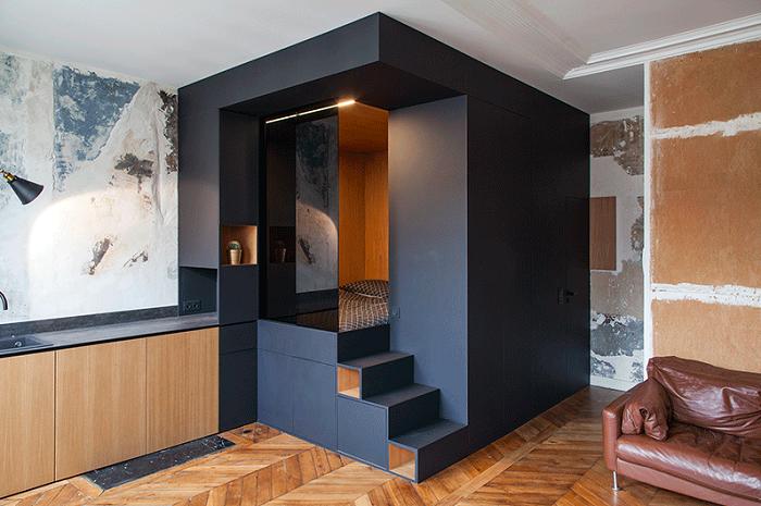 С помощью такого модуля вполне реально организовать спальную комнату (Проект Batiik Studio). | Фото: amazingfacts.ru.