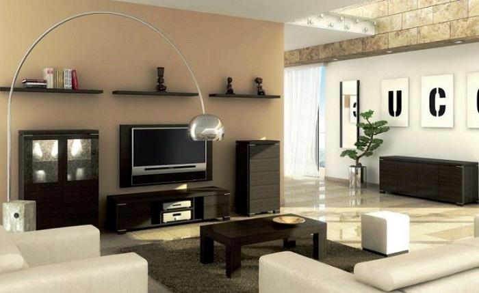 Для большой комнаты подойдёт небольшой стильный гарнитур.