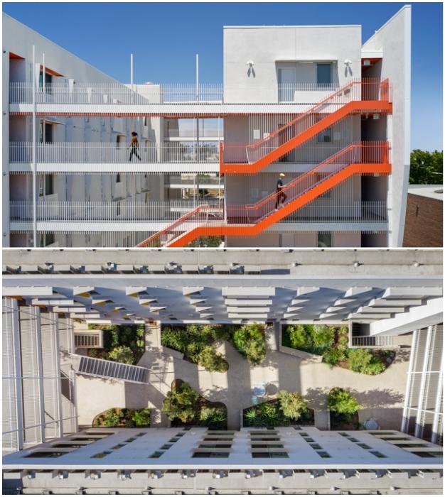 Воздушные мосты и благоустроенные дворы выступают в роли зон социального взаимодействия жильцов комплекса The Arroyo (Санта-Моника, США).