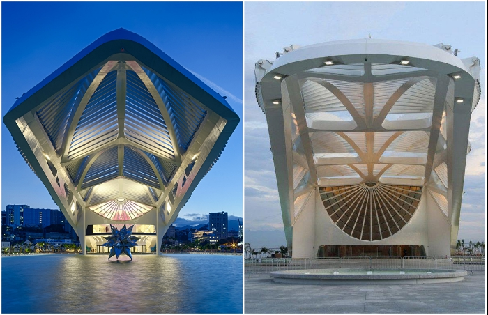 Эффектные архитектурные приемы позволили создать особенную достопримечательность в депрессивном районе Рио-де-Жанейро (Museu do Amanha, Бразилия).