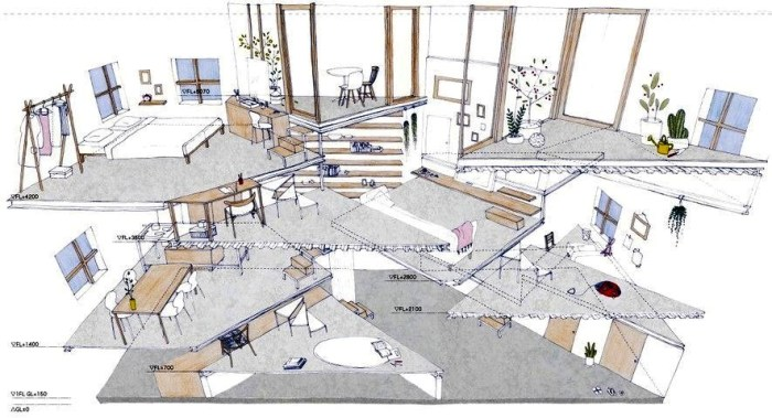 Чтобы расположить все 13 уровней, пришлось убирать все внутренние стены, перекрытие и перегородки. | Фото: taratutenko.ru.