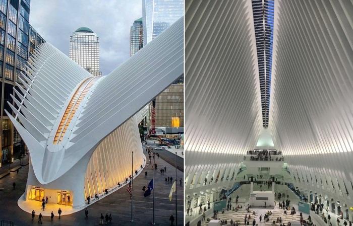 Внутреннее пространство станции Всемирного торгового центра (Нью-Йорк, США).