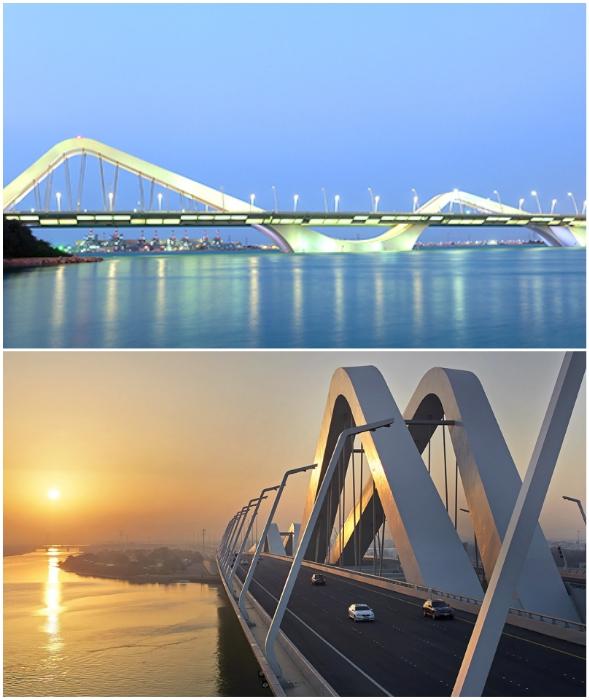 Главная арочная конструкция моста Шейха Зайда поднимается на высоту 60 м над уровнем воды (Абу-Даби, ОАЭ).
