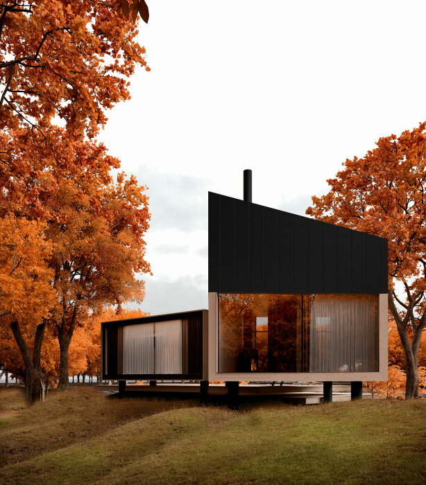 YUKON house состоит из двух взаимосвязанных модулей. | Фото: en.alex-nerovnya.com.