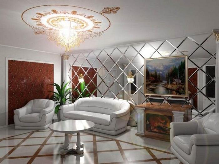 Зеркало может создать очень яркий акцент на выбранной стене.