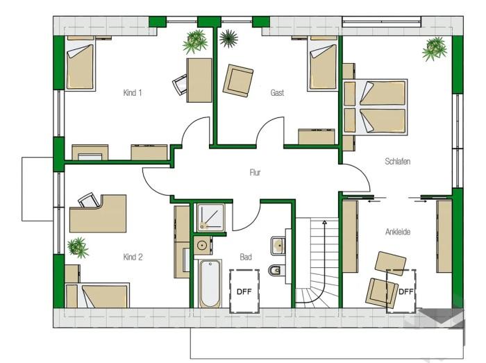 Второй этаж всецело принадлежит молодой семье (план). | Фото: haas-fertighaus.de.