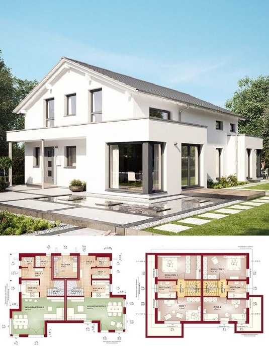 Строительство Zweifamilienhaus поможет значительно сэкономить семейный бюджет. | Фото: roxton-massivhaus.de.