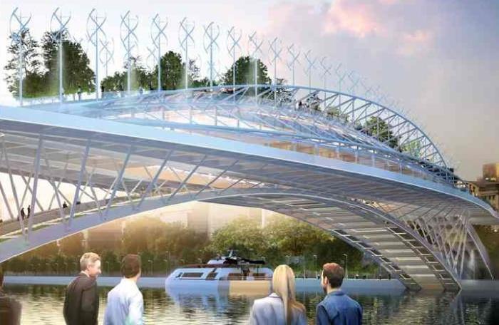 Мост станет особенным местом отдыха, учебы и социального взаимодействия парижан и гостей города (концепт Green Line). | Фото: vincent.callebaut.org.