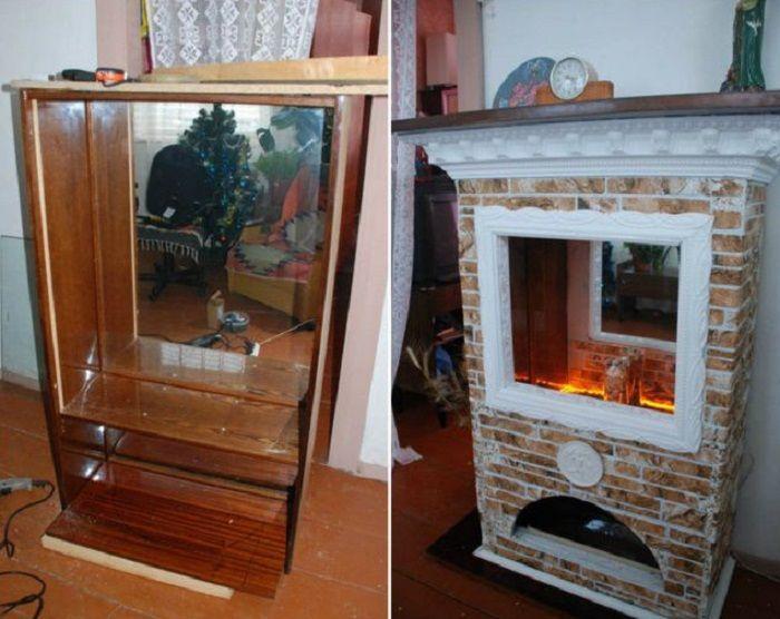 Старый сервант превратили в декоративный камин. | Фото: pinterest.com.