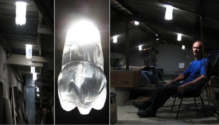 «Солнечный колодец» можно сделать из пластиковых бутылок (на фото изобретатель Альфредо Мозер.